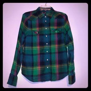 American Eagle multicolor Plaid Button up Shirt L